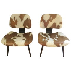 Pair of Iconic LCW Eames Chairs with Faux Cowhide Finish by Lynn Curlee