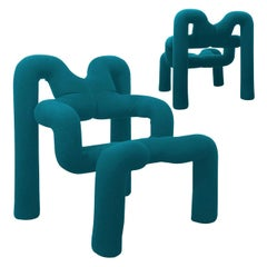 Pair of Iconic Petrol Blue Armchairs by Terje Ekstrom, Norway, 1980s