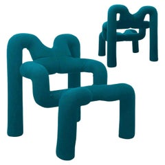 Pair of Iconic Petrol Blue Armchairs by Terje Ekstrom, Norway, 1980s