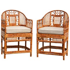 Pair of Iconic Vintage Brighton Pavilion Style Chinoiserie Bamboo Armchairs