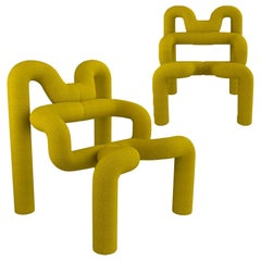 Pair of Iconic Yello Lounge Chairs by Terje Ekstrom, Norway, 1980s