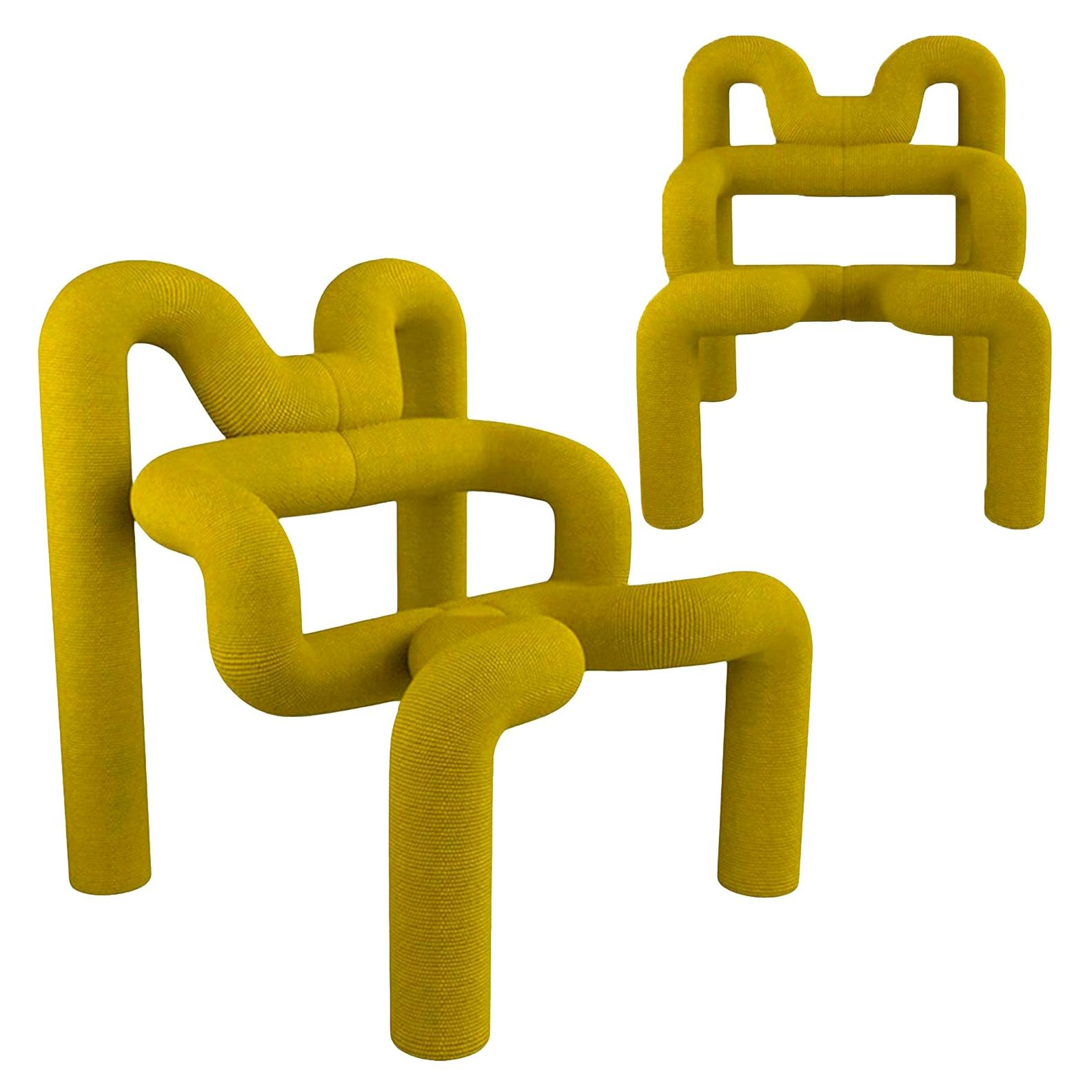 Pair of Iconic Yellow Lounge Chairs by Terje Ekstrom, Norway, 1980s