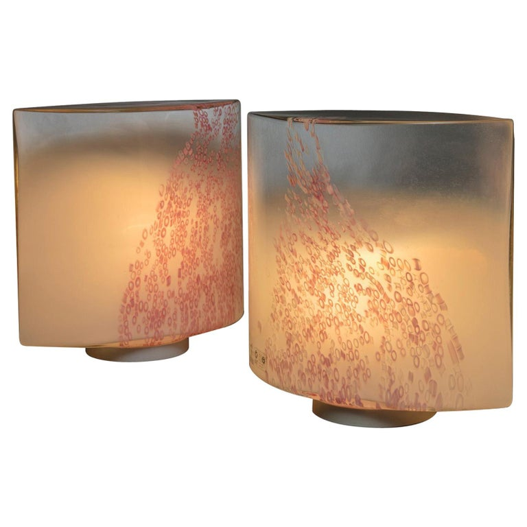 """Pair of """"Idra"""" Table Lamps by Toso for Leucos For Sale"""
