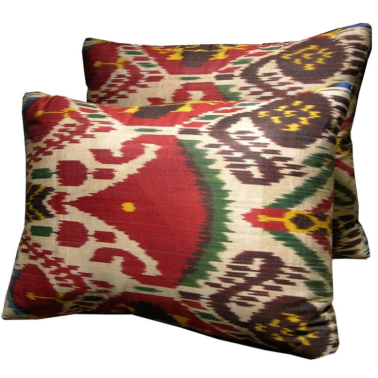 Pair of ikat tapestry pillows, ca. 1900, offered by Y & B Bolour
