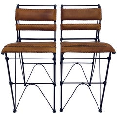 Pair of Ilana Goor Attributed Brown Leather and Iron Bar Stools