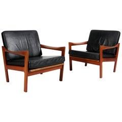 Pair of Illum Wikkelsø for N. Eilersen Lounge Chairs, Model 20, in Solid Teak