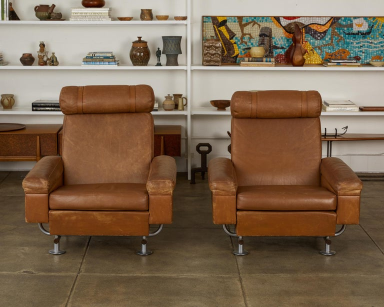 Mid-Century Modern Pair of Illum Wikkelsø High-Backed Lounge Chairs for Ryesberg Møbler For Sale