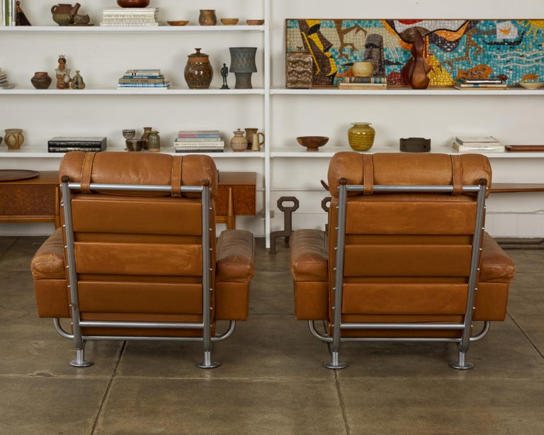 Patinated Pair of Illum Wikkelsø High-Backed Lounge Chairs for Ryesberg Møbler For Sale