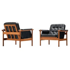 Pair of Illum Wikkelsø 'Wiki' Lounge Chairs in Teak and Black Leather