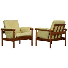 "Pair of Illum Wikkelso for Koefoed Mobelfabrik ""Wikki"" Teak Lounge Chairs"