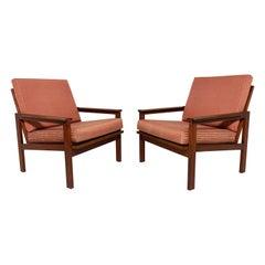 Pair of Illum Wikkelso Teak Lounge Chairs for Niels Eilersen, Denmark, ca. 1960s