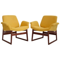 Pair of Illum Wikkelso Wooden Armchairs with Yellow Covers