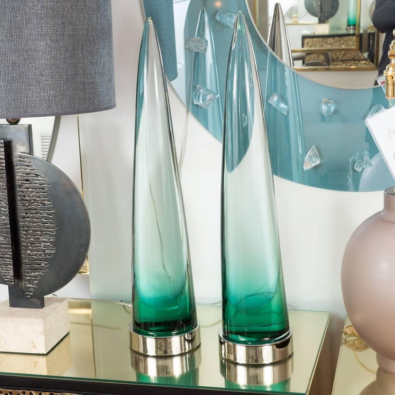Pair of Murano glass obelisks retrofitted with LED bases.