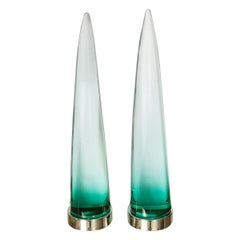 Pair of Illuminated Murano Glass Obelisks