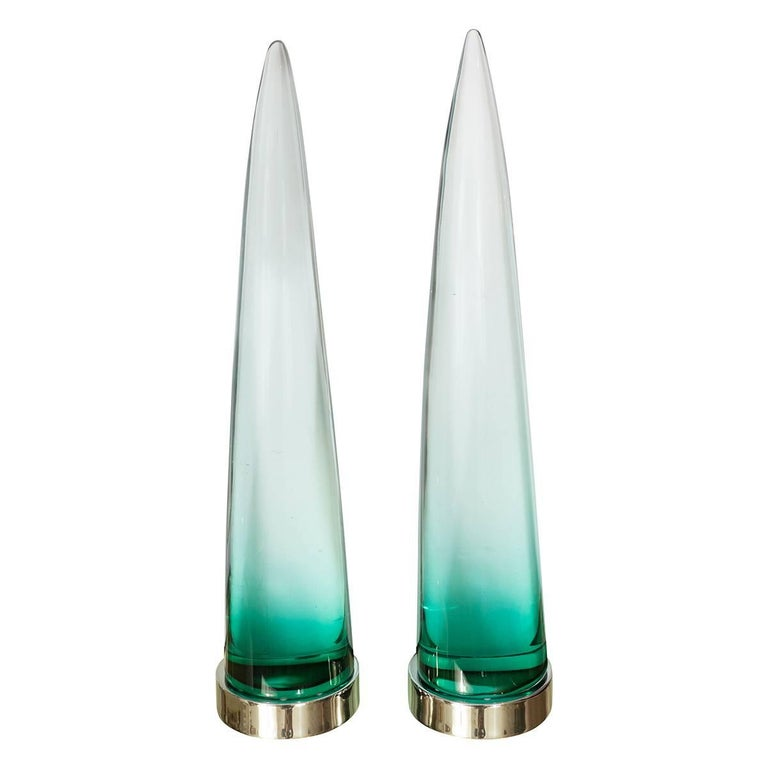 Pair of Illuminated Murano Glass Obelisks For Sale