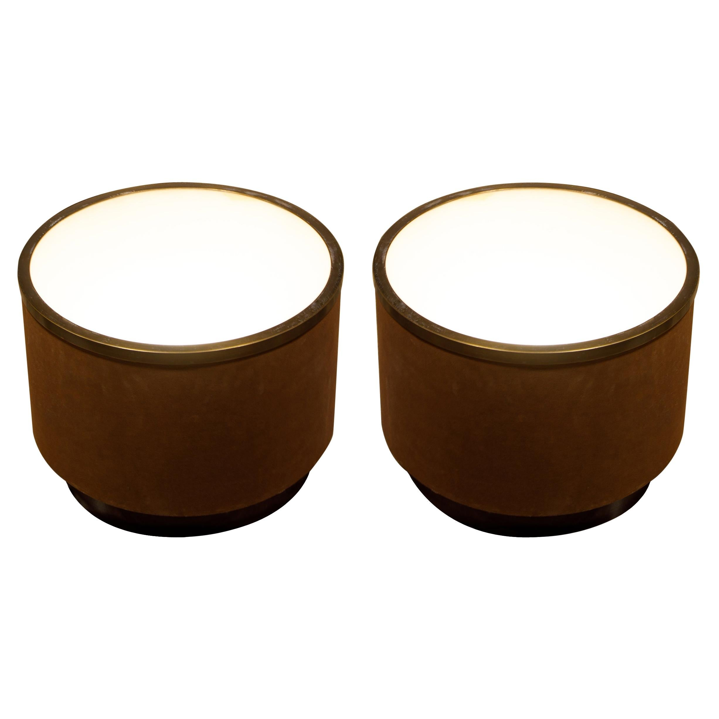 Pair of Illuminated Suede Drum Side Tables by Steve Chase, c. 1980