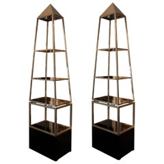 Pair of Illuminating Pyramid-Shaped Shelves, Maison Jansen, circa 1970