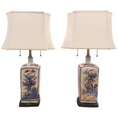 Pair of Imari Porcelain Lamps 18th Century