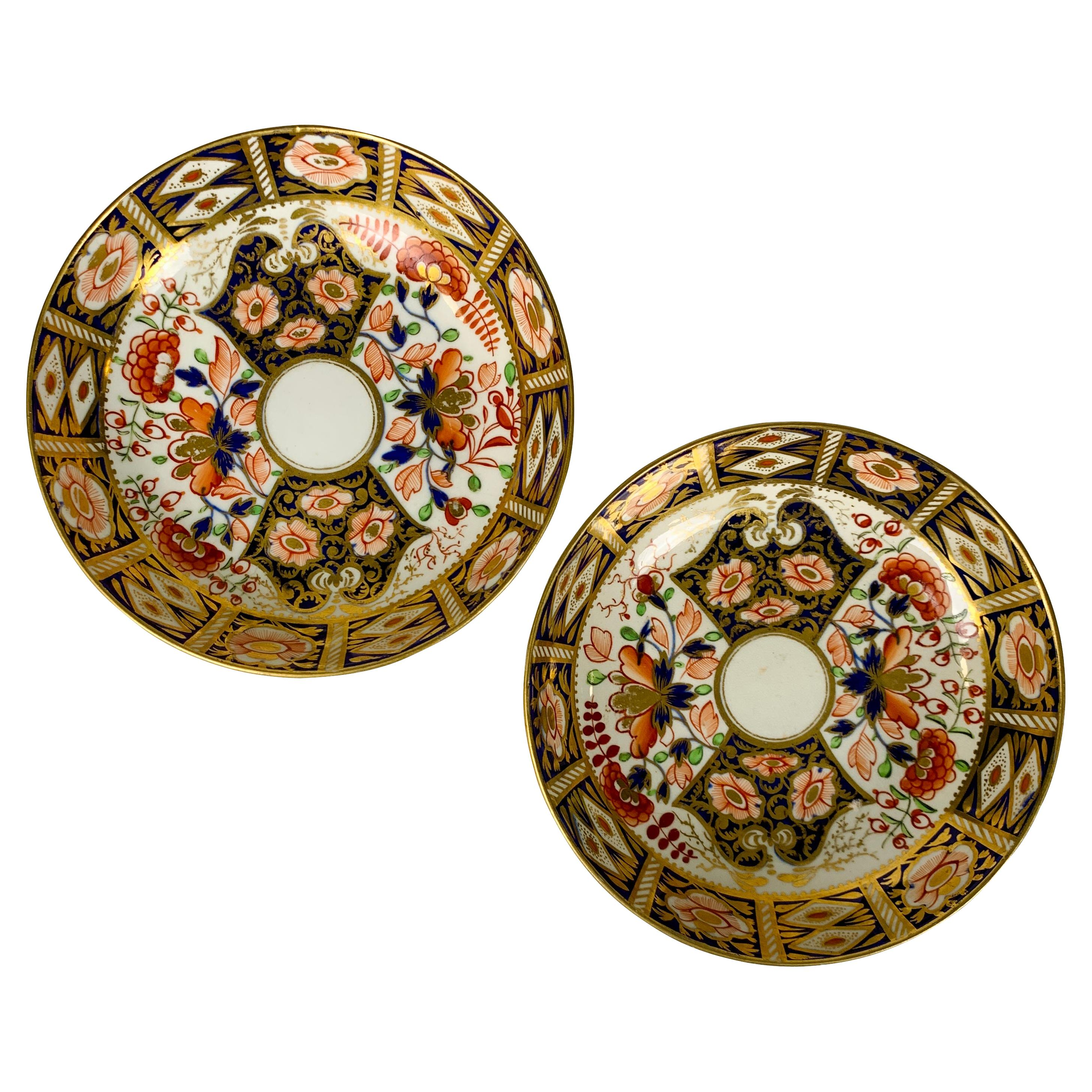 """Pair of Imari Saucers in the """"King's"""" Pattern Made in England, Circa 1820"""