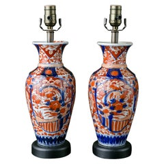 Pair of Imari Table Lamps with Simple Geometric Pattern