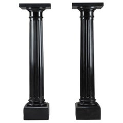 Pair of Imperial Black Marble Pedestals, Napoleon III Period