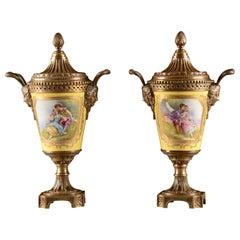 Pair of Imperial Cassolettes, Bronze, Porcelain, Mid-19th Century