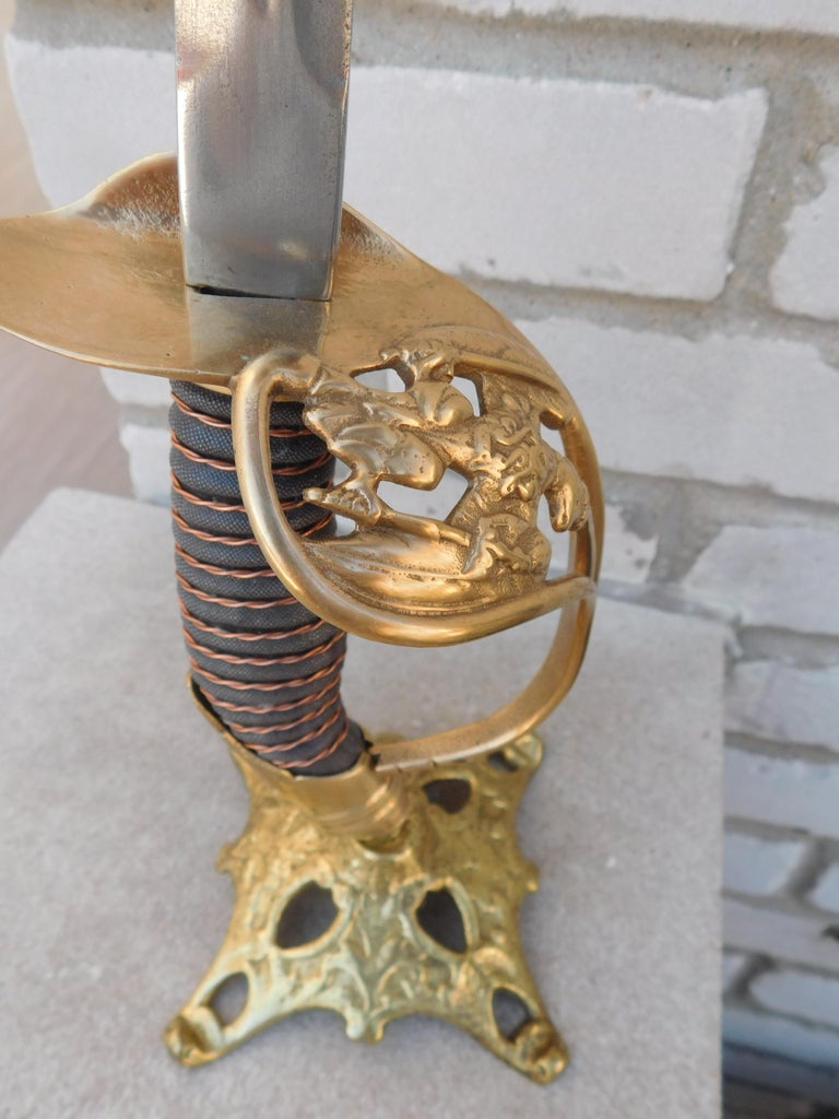 Pair of Imperial Prussian Sword Candle Holders, Prussia 1889 In Excellent Condition For Sale In Chicago, IL