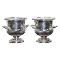Pair of Important 1813 Sterling Silver George III Wine Coolers Coat of Arms