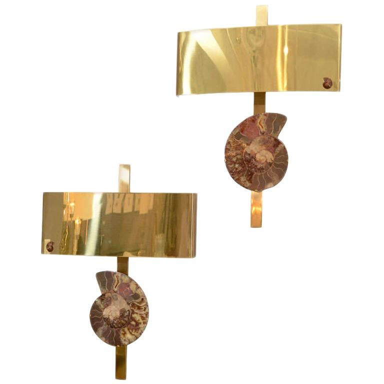 Pair of Important Ammonite and Brass Wall Lights/ Sconces