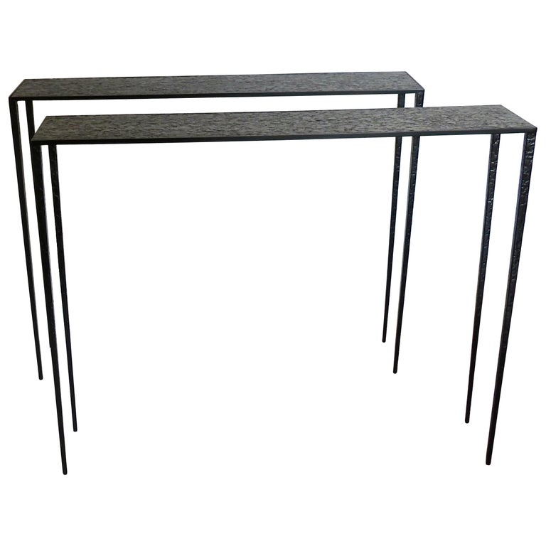 Pair of black brass Essenziali console tables, 2018, offered by Compendio Gallery