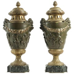 Pair of Important Cassolettes Napoleon III, Gilt Bronze and Patinated