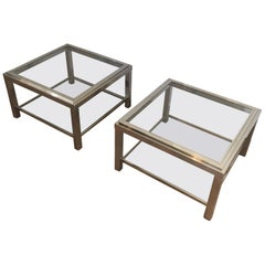 Pair of Important Chrome Side Tables, French, circa 1970