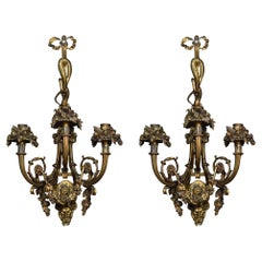 Pair of Important French Louis XIV Style Gilt Bronze Three Arm Wall Sconces