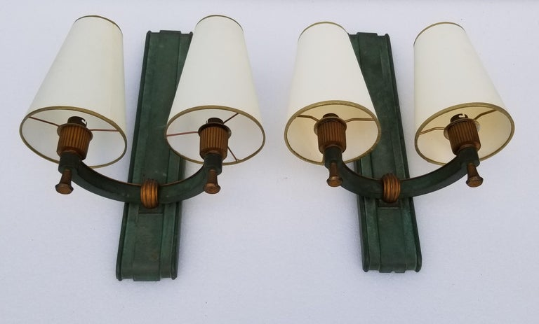 Pair of Important Genet & Michon Bronze Sconces For Sale 8