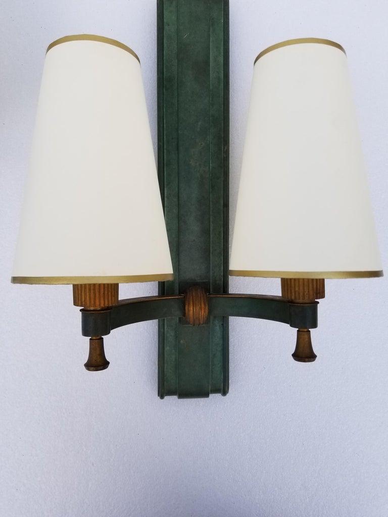 Art Deco Pair of Important Genet & Michon Bronze Sconces For Sale