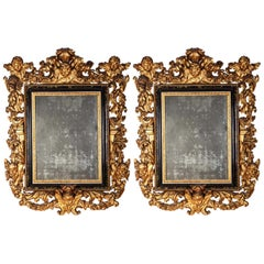 Pair of Important Italian 17th Century Giltwood Baroque Mirrors, 1680