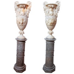 Pair of Important Monumental Italian Alabaster Urns on Pedestals