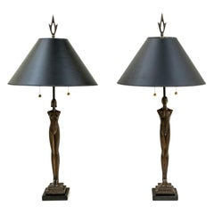 "Pair of Important Tom Corbin ""Eden"" Figural Bronze Twin Light Table Lamps"