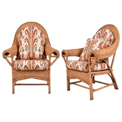 Pair of Imposing 1980s American Wicker Chairs