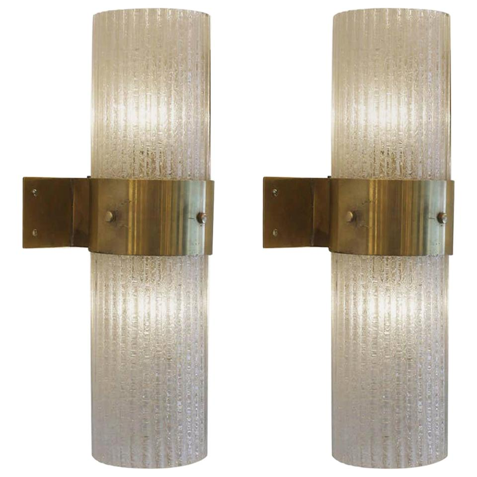Pair of Imposing Glass and Brass Sconces, Italy, 1970s