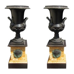 Pair of Impressive 19th Century French Empire Bronze Urns on Sienna Marble Bases