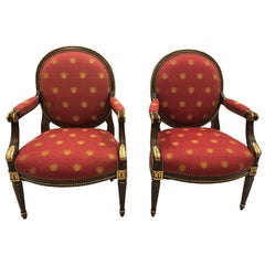 Pair of Impressive EJ Victor Gilded Walnut and Upholstered Armchairs