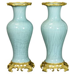 Pair of Impressive French Gilt-Bronze Mounted Vases