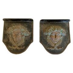 Pair of Impressive Heavy Bronze Figural Neoclassical Plaques