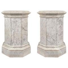 Pair of Impressive Italian 19th Century Louis XVI Style Marble Pedestals