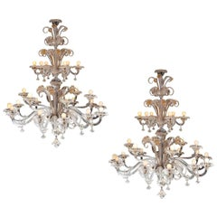 Pair of Impressive Murano Chandeliers by Seguso, 1960