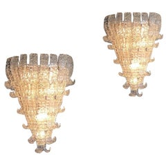Pair of Impressive Murano Glass Chandelier by Barovier & Toso, Italy, 1970s