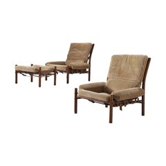 Pair of 'Inca' Lounge Chairs with Ottoman in Corduroy by Arne Norell