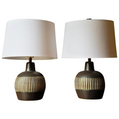 Pair of Incised Ceramic Lamps Designed by Jane Gordon and Martz