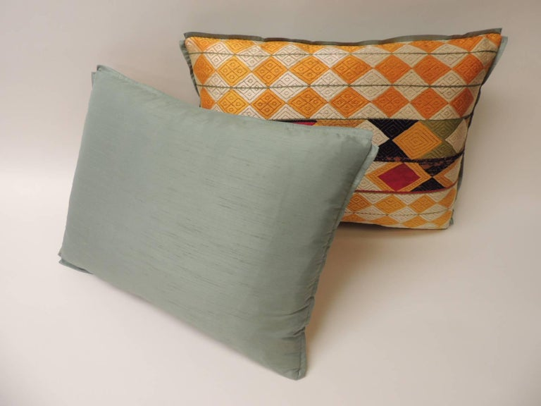 """Hand-Crafted Pair of Indian 19th Century """"Phulkari"""" Artisanal Decorative Bolster Pillow For Sale"""